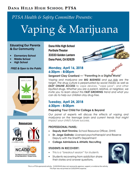 PTSA Health & Safety Committee Presents: Vaping & Marijuana